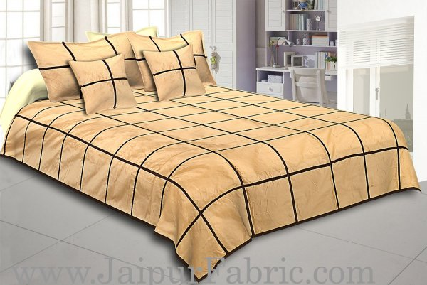 Cream With Check Silk festive Double Bed sheet