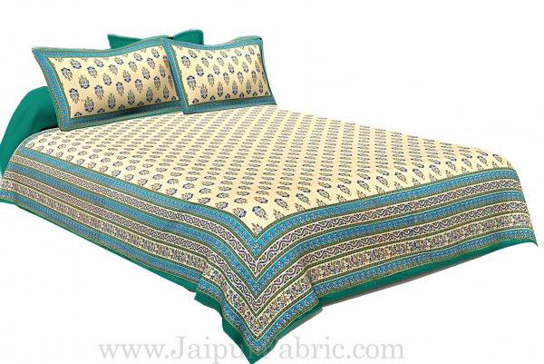 Green Border Cream Base  Multi Border Small Booti  With Golden Print Super Fine Cotton Double Bedsheet