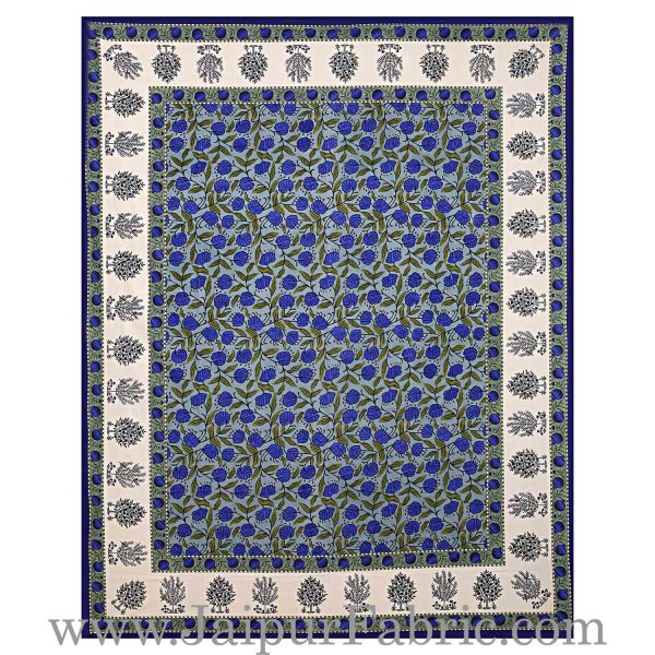 Double Bedsheet With Blue Border  Big Dot Super Fine Cotton Smooth Touch