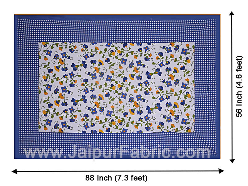 Floral Single Bedsheet Blue Color Dotted Border with 1 Pillow Cover