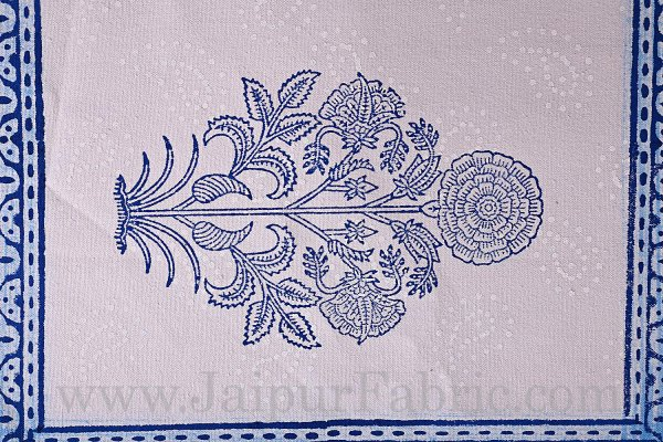 Blue Border With Hand Block Print Super Fine Cotton Mate Napkin Set  Of 6