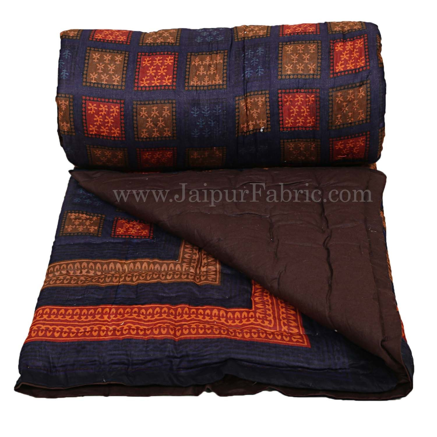 Jaipuri Razai/Quilt Blue Color Check Dabu Print Fine Cotton