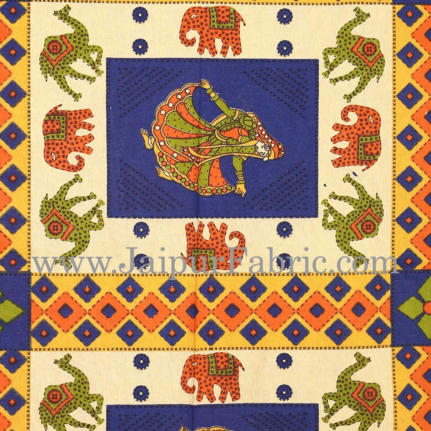 Blue Border  Cream Base Camel And Elephant With Dancing Doll Diwan Set