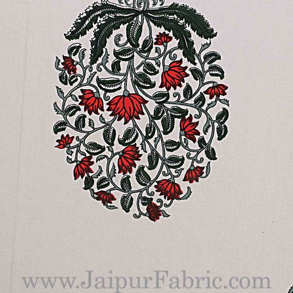 Double Bedsheet Grey  Border  Fine Cotton Red Floral   Print