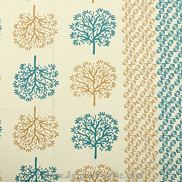 Sea Green Trees Double Bedsheet With 2 Pillow covers