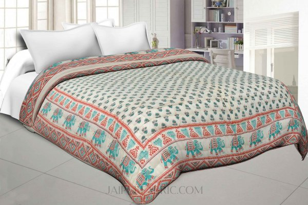 Colorful Floral Jaipuri Double Bed Quilt