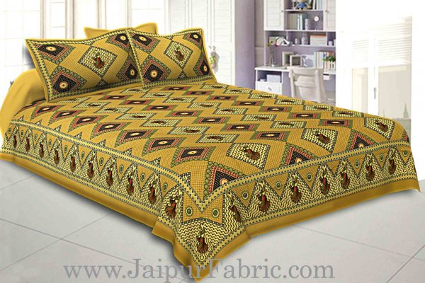 Double bedsheet Brown Color Gujri Dance  Pattern Smooth Touch With 2 Pillow Cover
