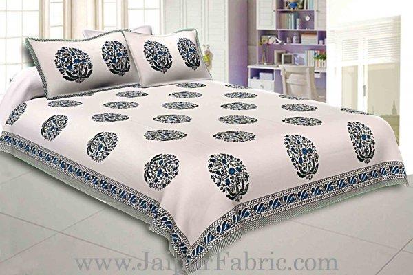 Double Bedsheet Grey  Border  Fine Cotton Blue Floral  Print