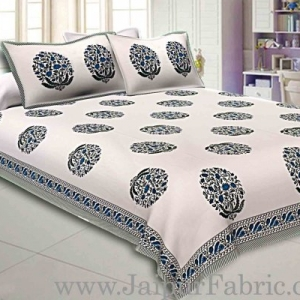 Double Bedsheet Grey  Border  Fine Cotton Blue Floral  Print