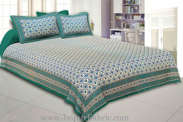 Green border multi floral with golden print super fine cotton double bed sheet