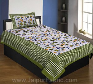 Floral Single Bedsheet Green Color Dotted Border with 1 Pillow Cover