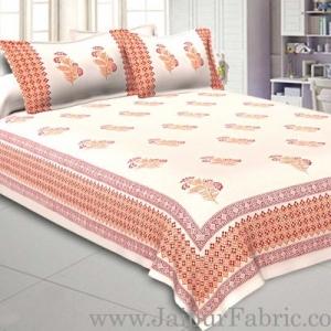 Double Bed Sheet White Base With Kadi Print Blue PaisleyButa Hand Block Print Super Fine  Cotton