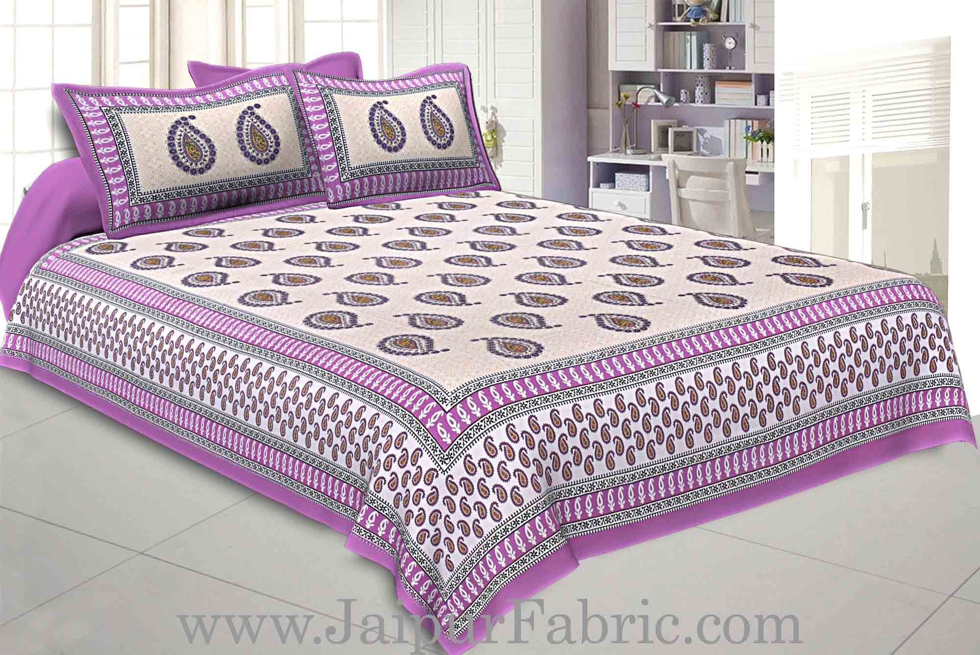 Double bedsheet Purple Border With Paisley Print Fine Cotton With Two Pillow Cover