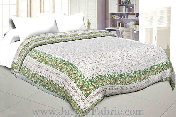 Jaipuri Printed Double Bed Razai Golden  Green White base with Jall pattern