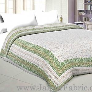Jaipuri Printed Double Bed Razai Golden  Green White base with Jall pattern