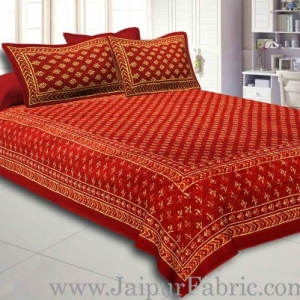 Maroon  Border Maroon  Base leaf  Print Fine Cotton Double Bed sheet  With Pillow Cover