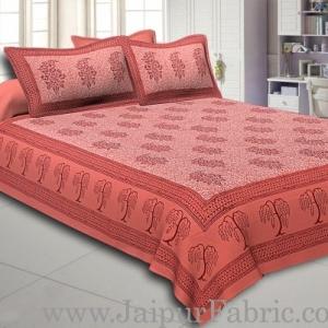 Gajri Colour With Gajri Tree Pattern Hand Block Print Super Fine Cotton Double Bedsheet