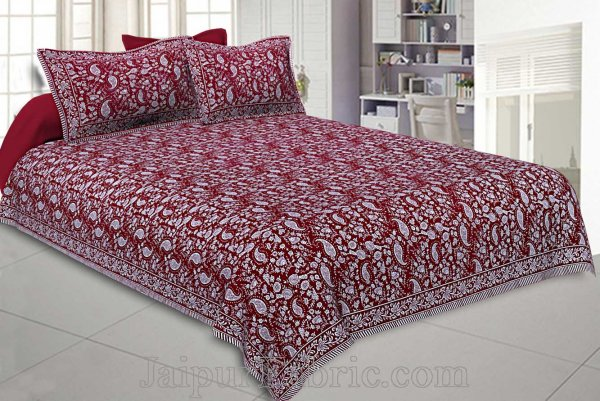 Double Bedsheet Maroon Red Paisley Floral Pattern