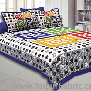 Ludo Print 152 TC Cotton Double Bedsheet with 2 Pillow Covers