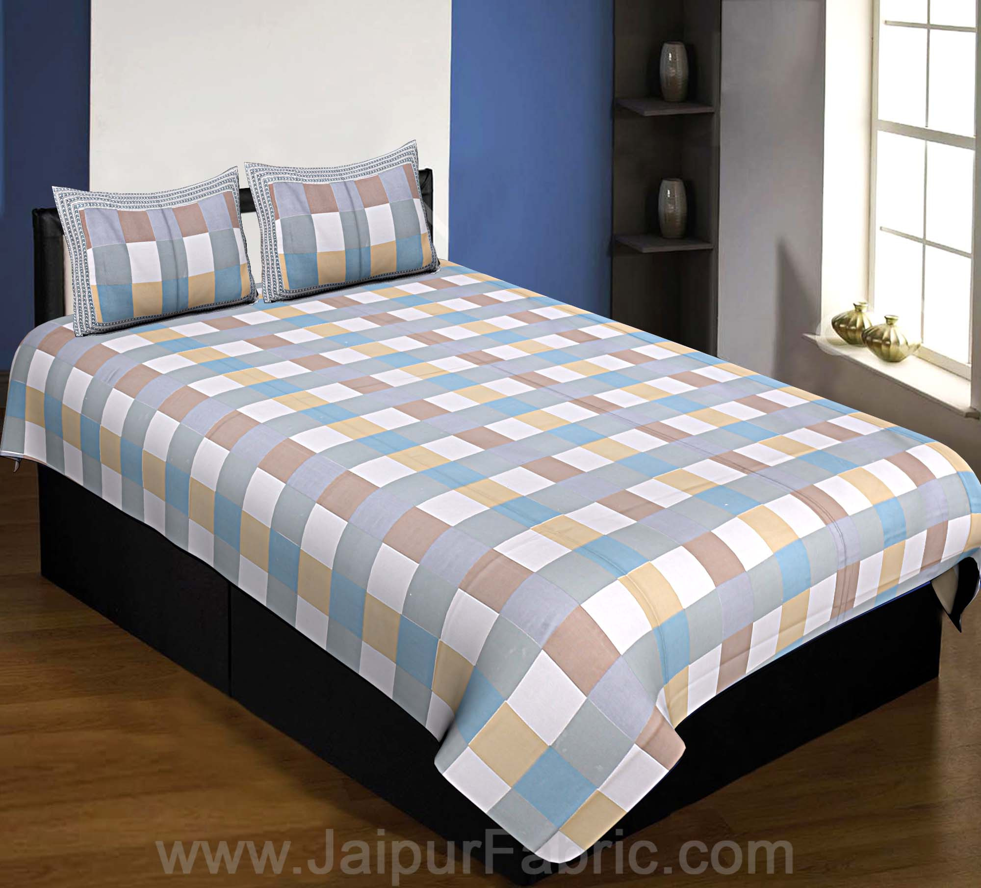 240 TC Multi Checkered Single Bedsheet with 2 Pillow Cover