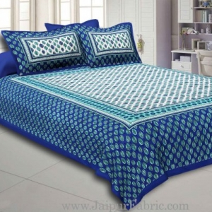 Blue Border Leaf Pattern Screen Print Cotton Double Bed Sheet