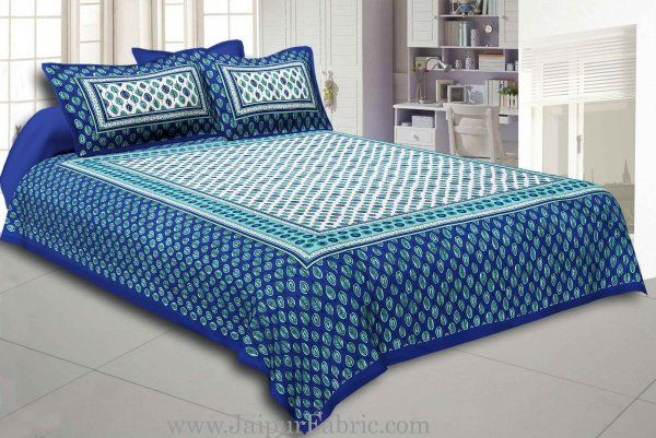Wholesale Blue Border Leaf Pattern Screen Print Cotton Double Bed Sheet