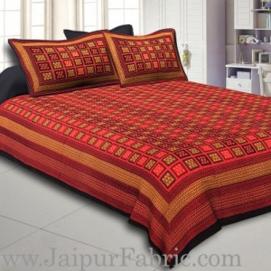 Black Border With Lining Small Check Pattern Dabu Print (Hand Block) Super Fine Cotton Double Bed Sheet