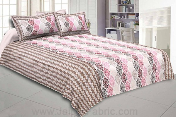 Double Bedsheet Brown Pink Retro Pattern