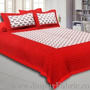 Maroon Border Cream Base Kerry Boota Print Cotton Double Bed Sheet