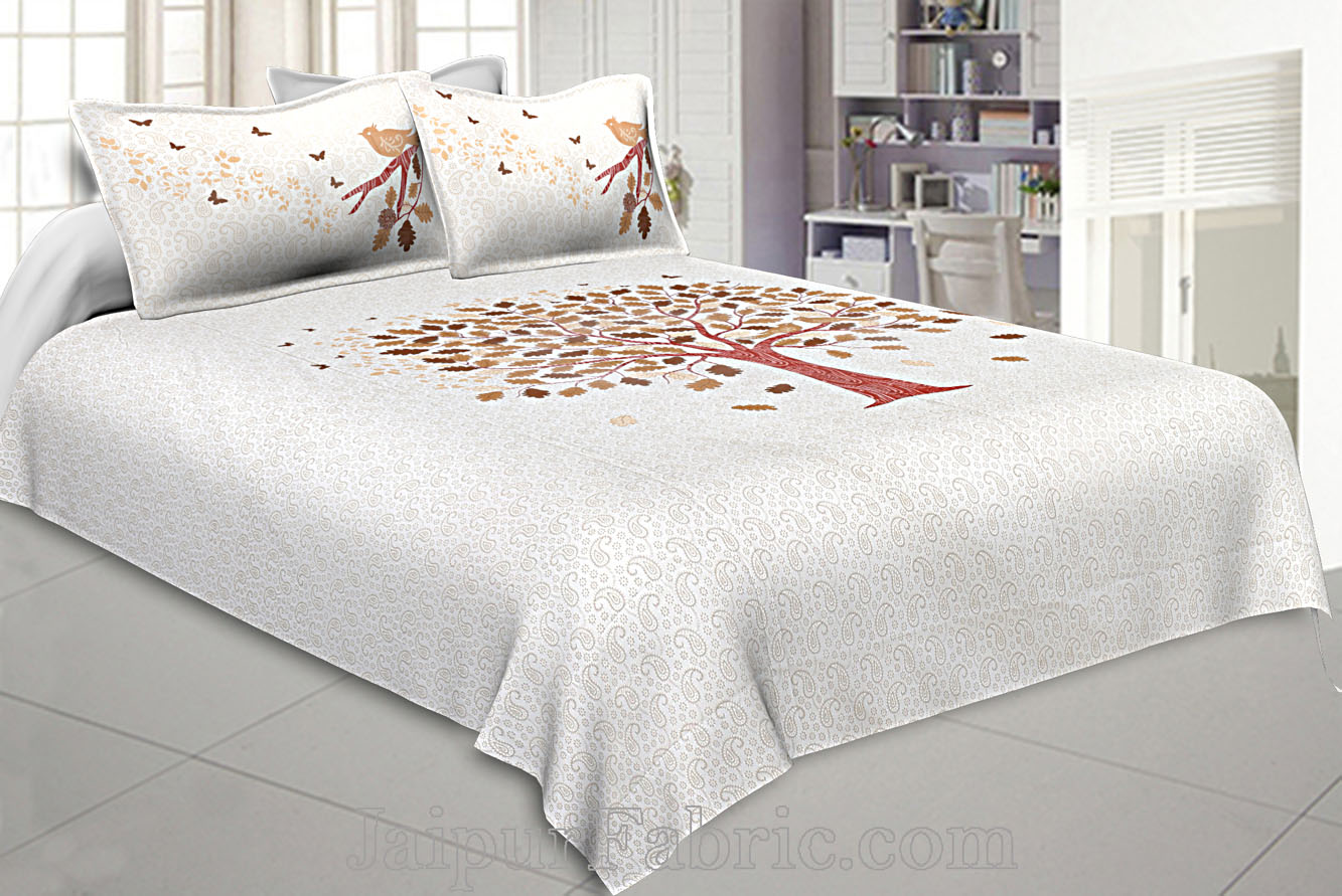 Twill Cotton Double Bedsheet Chocolate Brown Spring Tree