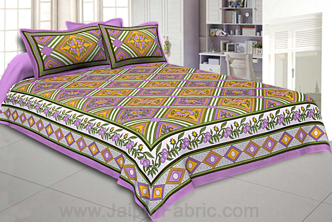 Floral diamonds purple yellow Double Bedsheet