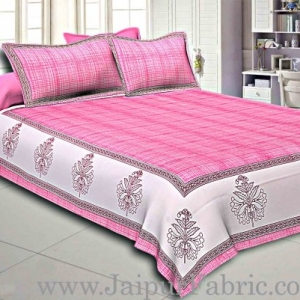 Pink Border With Cream And Pink Base Cotton Satin Hand Block Double Bedsheet