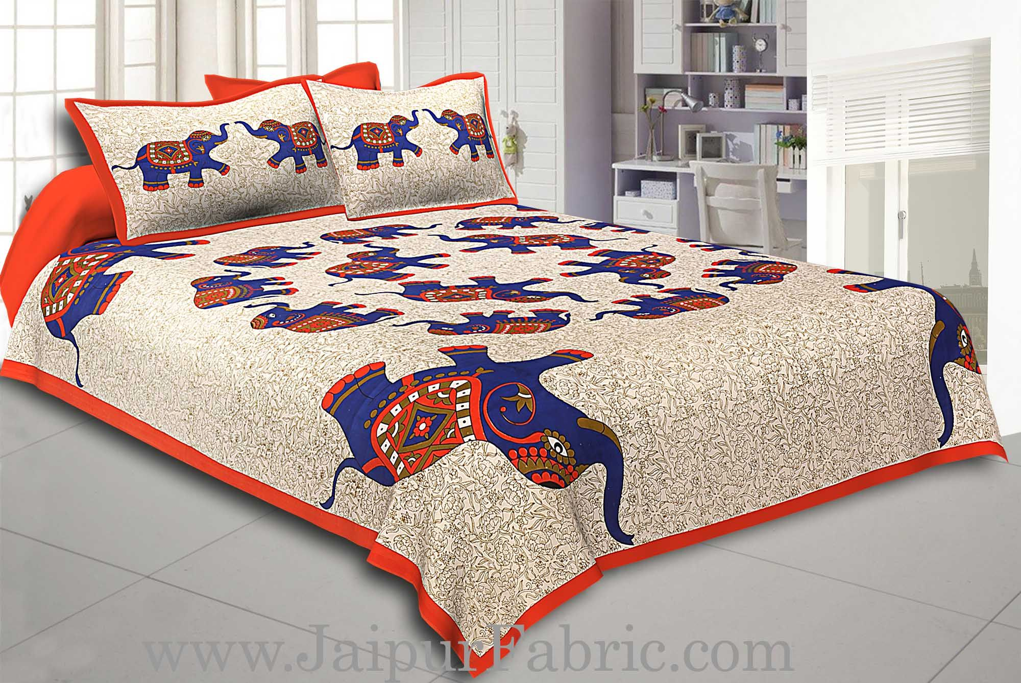 Orange  Border Elephant in Round Shape Cotton Double Bedsheet