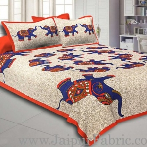 Orange  Border Elephant in Round Shape Cotton Double Bedsheet