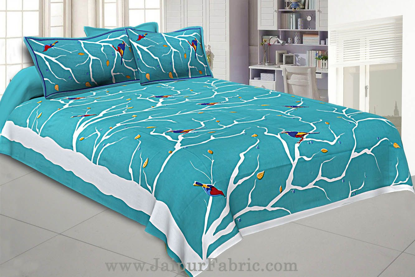 Indian Sparrow Double Bedsheet Sea Green Color With 2 Pillow covers