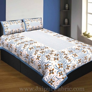 Exceptional Single Bedsheet Pure Cotton Gray Border With Flower And Leaf Pattern