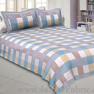 240 TC Multi Checkered Double Bedsheet with 2 Pillow Cover