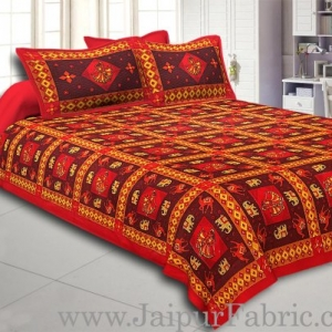 Maroon Border Maroon Base Gujri Dance In Square Pattern Cotton Double Bed Sheet