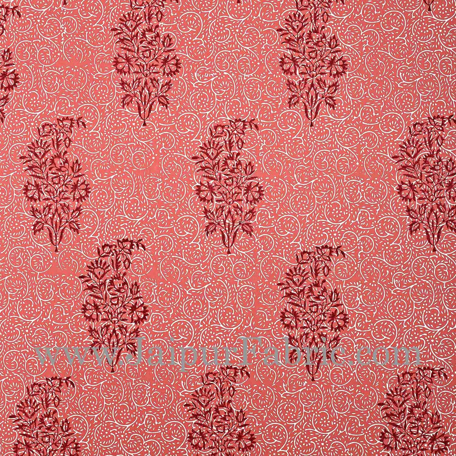 Gajri Colour With Gajri Tree Pattern Hand Block Print Super Fine Cotton Double Bedsheet