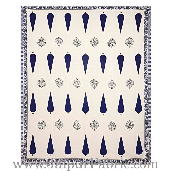 Double bedsheet Blue Long Tree Smooth Cotton Screen Print