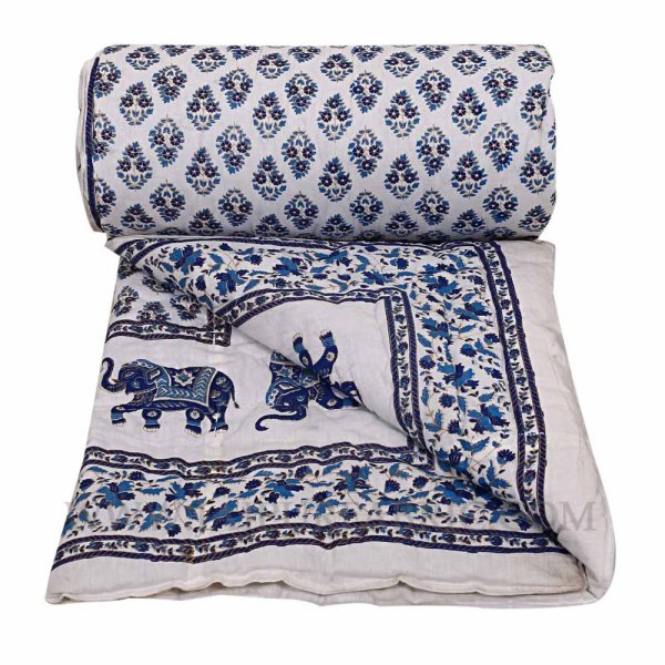 Single Quilt Blue Elephant Print Super Fine  Golden Print Reversable