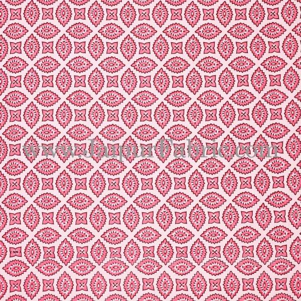 Pink Border Cream Base Bagru Pattern Cotton Double Bed Sheet