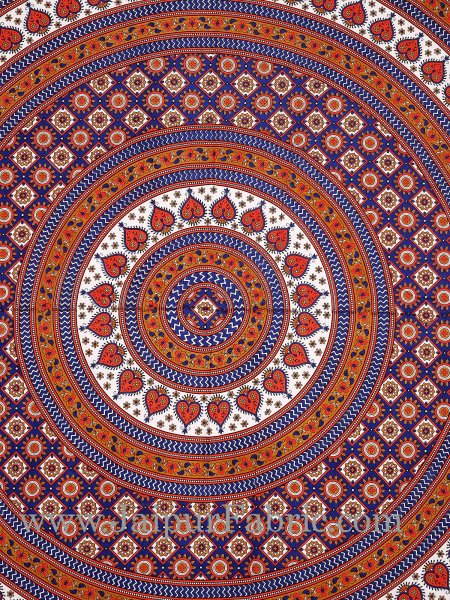 Orange Border Sanganeri Print Cotton Double Bed Sheet With 2 Pillow Cover