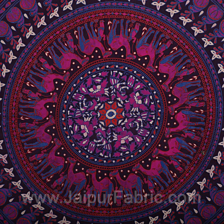 Violet Mandala Bedsheet Tapestry Floral Print With 2 Pillow Covers