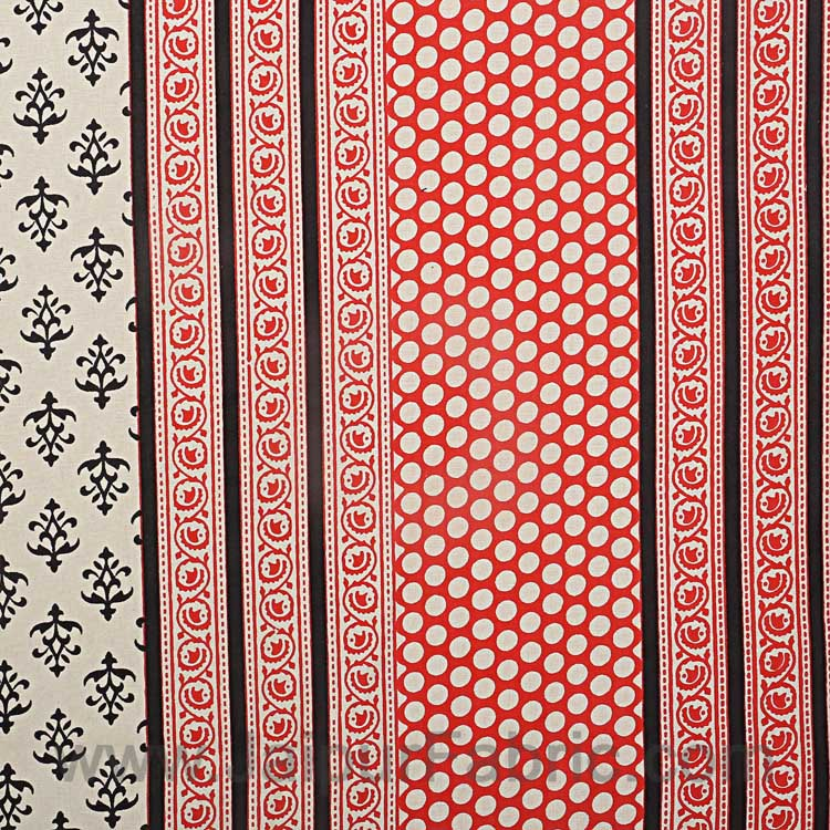 King Size Double Bedsheet Block Print Black Border  Fine Cotton