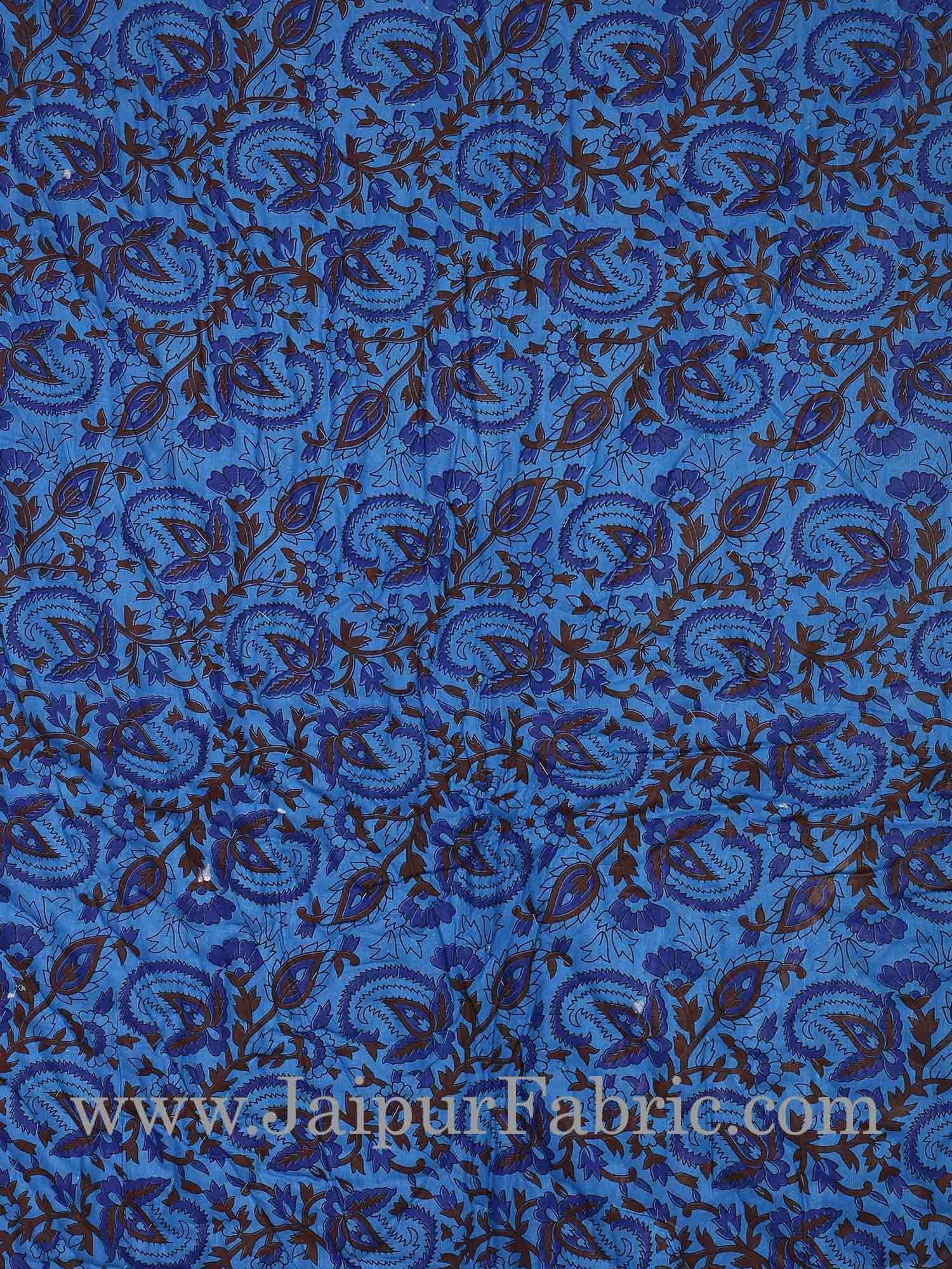 Blue Base Brown And Navy Blue Floral Print  Both Side Printed Cotton Single Quilt