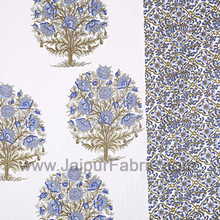 Double Bedsheet Gray Blue Floral Tree Print