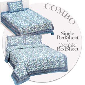 COMBO365 Beautiful Blue Ethnic Combo Set of 1 Single and 1 Double Bedsheet With 3 Pillow Cover