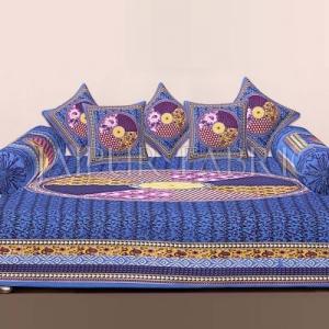 Blue Jaipuri Tropical Print Cotton Diwan Set