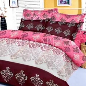 Pink Brown Original Jaipuri Block Print King Size Cotton Bedsheet